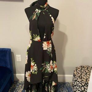 Black Halter Flower Dress